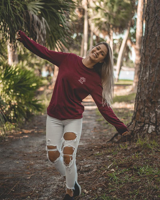 Maroon Fall Leaves Long Sleeve