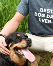 Men's Charcoal Best Dog Dad Ever White Print T-Shirt