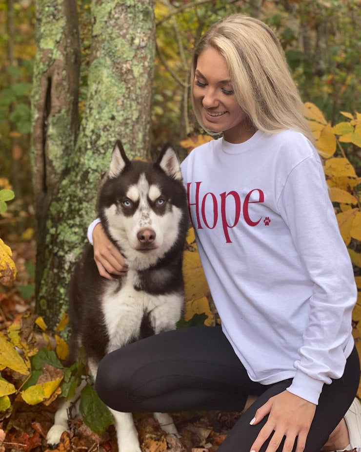 Pawz Red Hope Print White Long Sleeve - Pawz