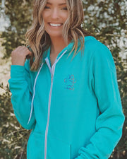 Pawz Rainbow Classic College Teal Zip Up Hoodie - Pawz