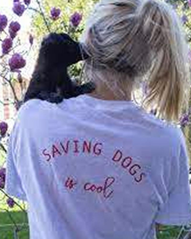 Short Sleeve Ash Saving Dogs Is Cool Red Back Print