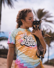 Short Sleeve Rainbow Sherbert Dog Lover Front Print