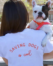 Short Sleeve White Saving Dogs is Cool Red Back Print