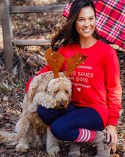 Pawz Holiday Sweater Print Candy Red Crewneck - Pawz