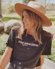 Stay Pawzitive Tri-Black Crop t-Shirt - Pawz