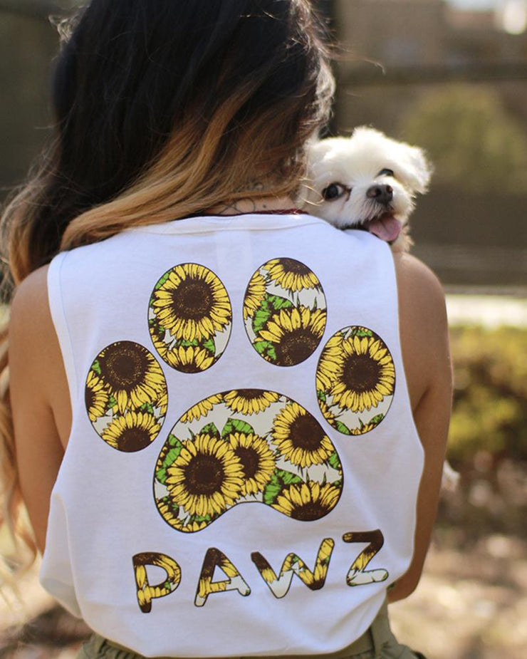 White Sunflower Tank Top