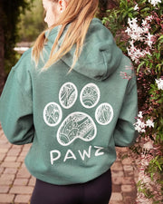 Pawz White Floral Heather Green Hoodie - Pawz