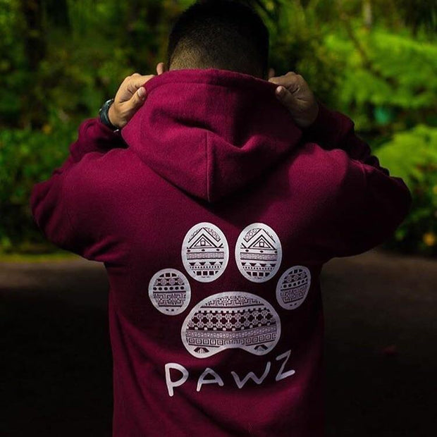 Hooded Men's Maroon Tribal Print - Pawz