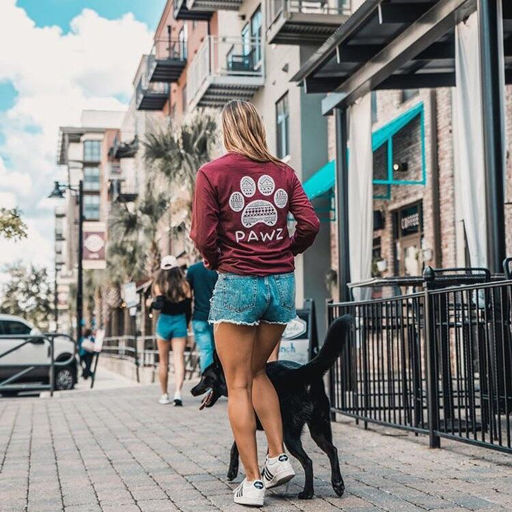 Long Sleeve Maroon Tribal White Print - Pawz