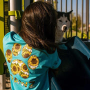 Short Sleeve Turquoise Sunflower Print - Pawz