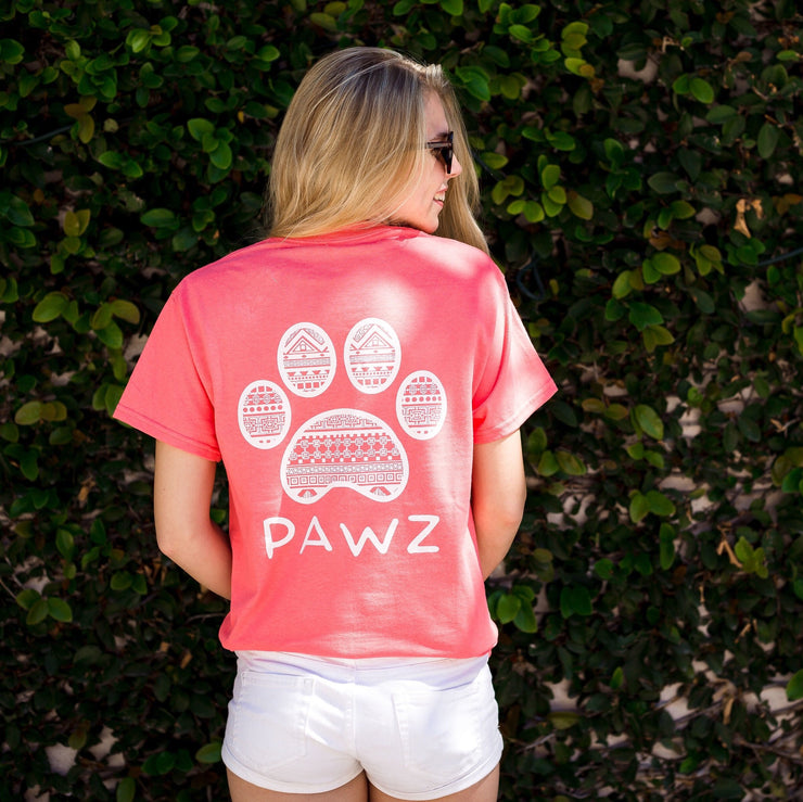 Short Sleeve Coral Tribal White Print - Pawz