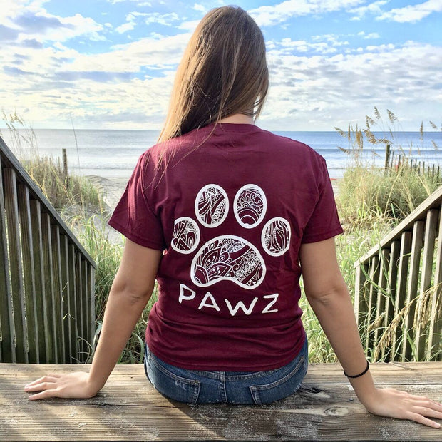 Short Sleeve Maroon Floral White Print - Pawz