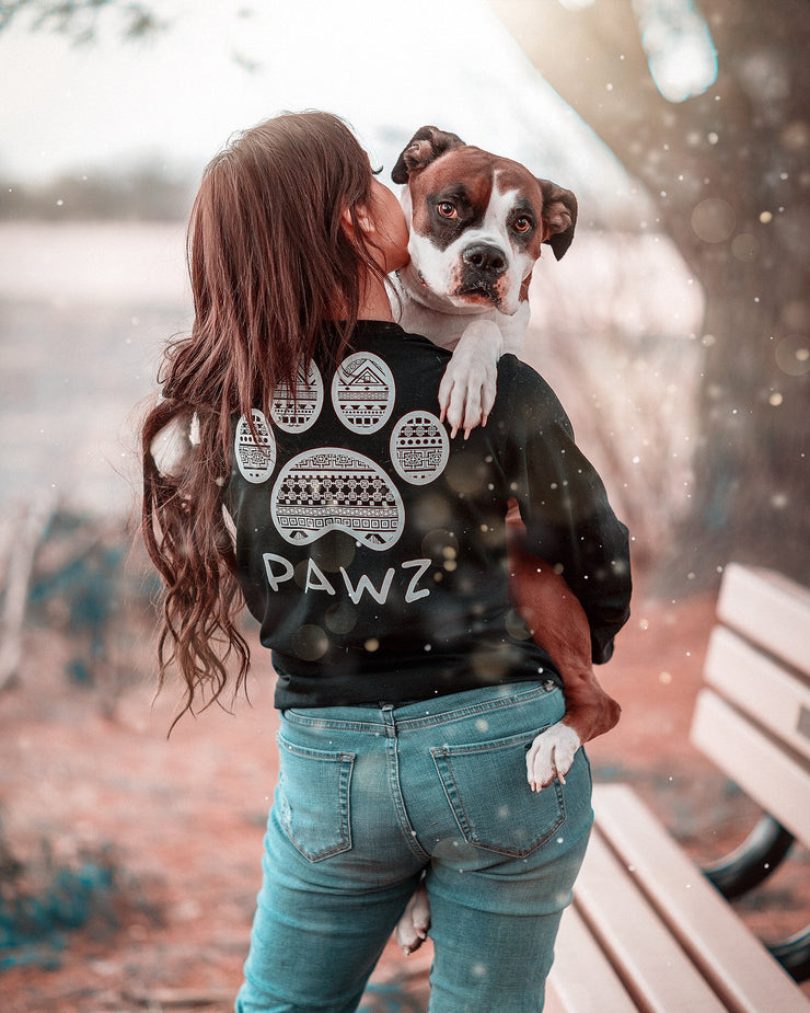 Long Sleeve Jet Black Tribal White Print - Pawz