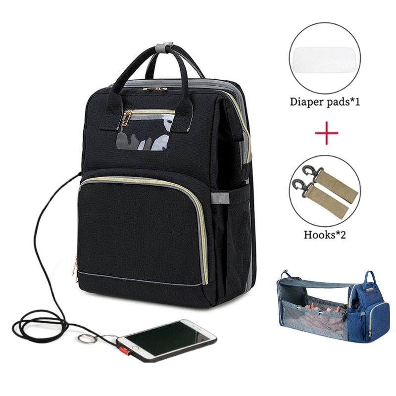 USB Diaper Backpack Bag With Changing Mat
