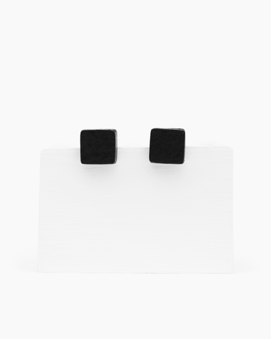 Leather Stud Earrings - Block