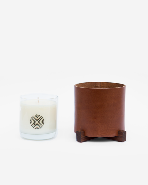Chestnut Leather Candle Holder with KEAP Candle