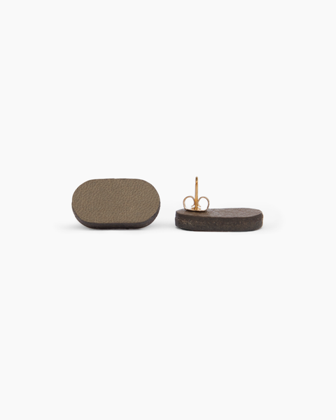 Leather Stud Earrings - Pill