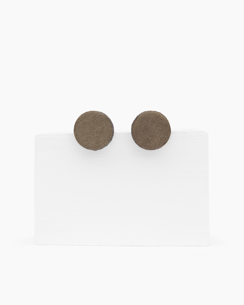 Leather Stud Earrings - Round