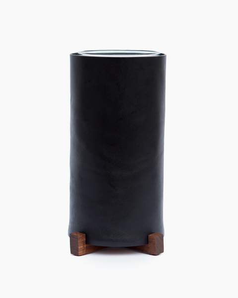 Leather Vase with Walnut Base
