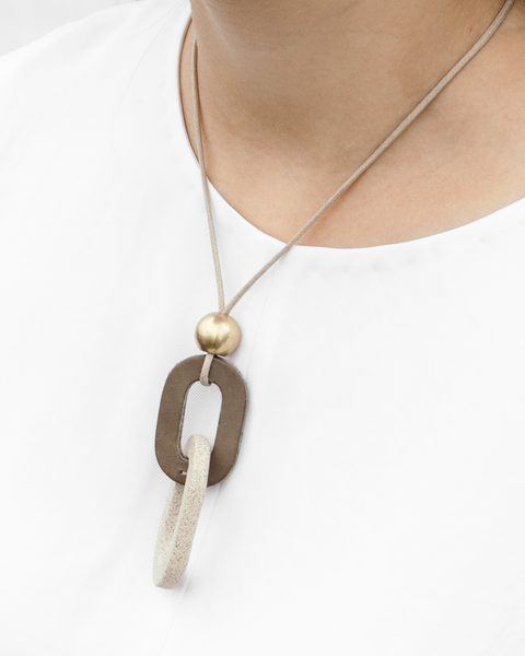 Leather + Ceramic + Brass Link Necklace