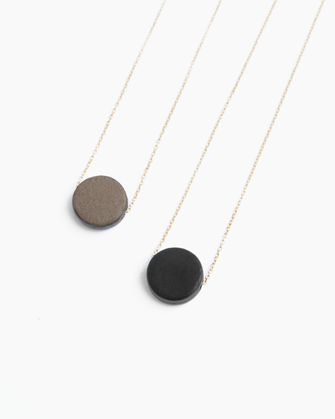 Leather Solo Round Necklace