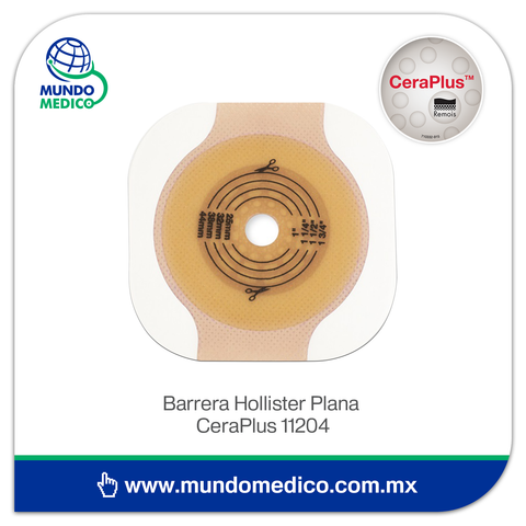 Barrera de Colostomía Hollister Plana CeraPlus 11204 Recortable 57 mm, Aro 70 mm