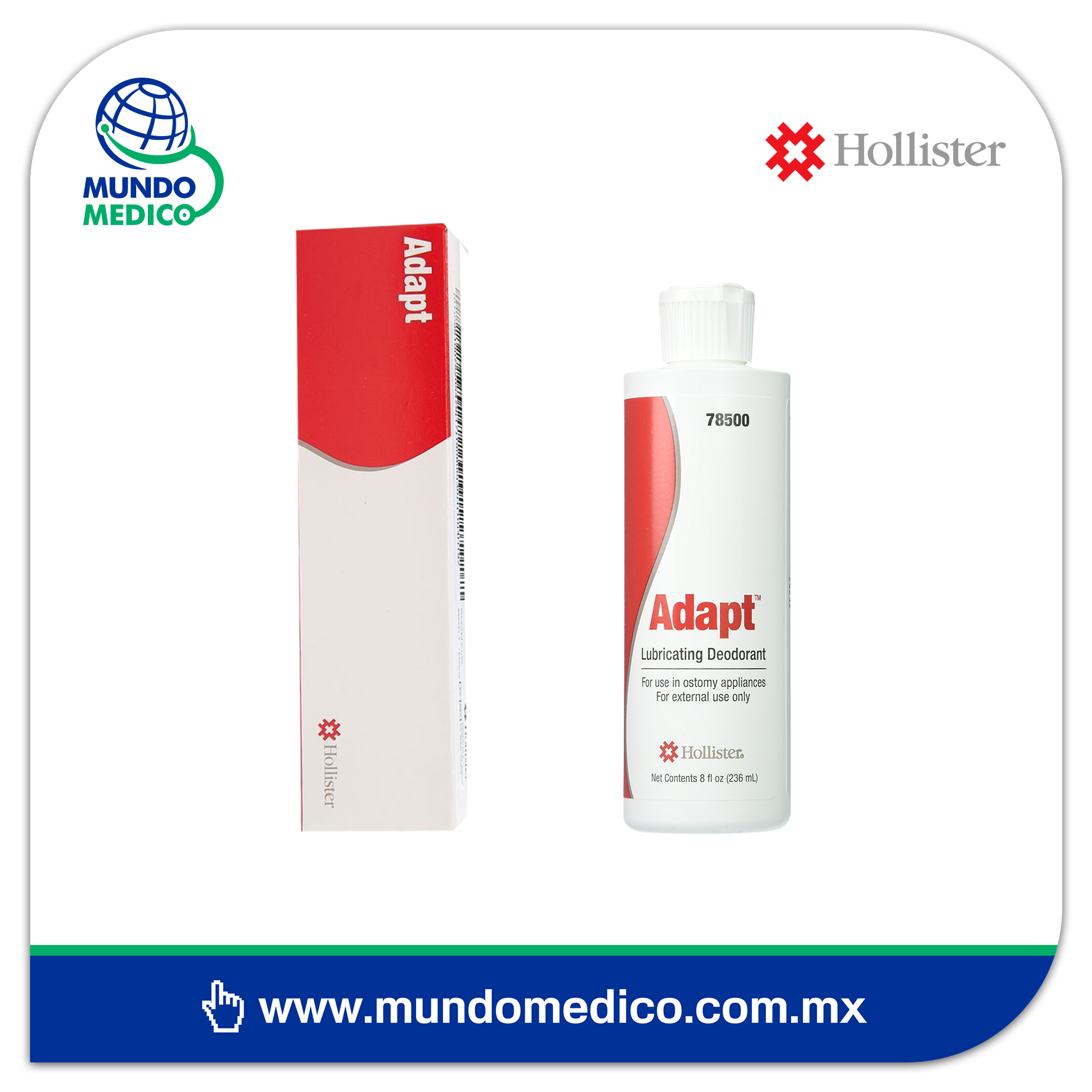 Adapt Hollister Lubricante y Desodorante en Frasco para Colostomía 78500 - 235 ml