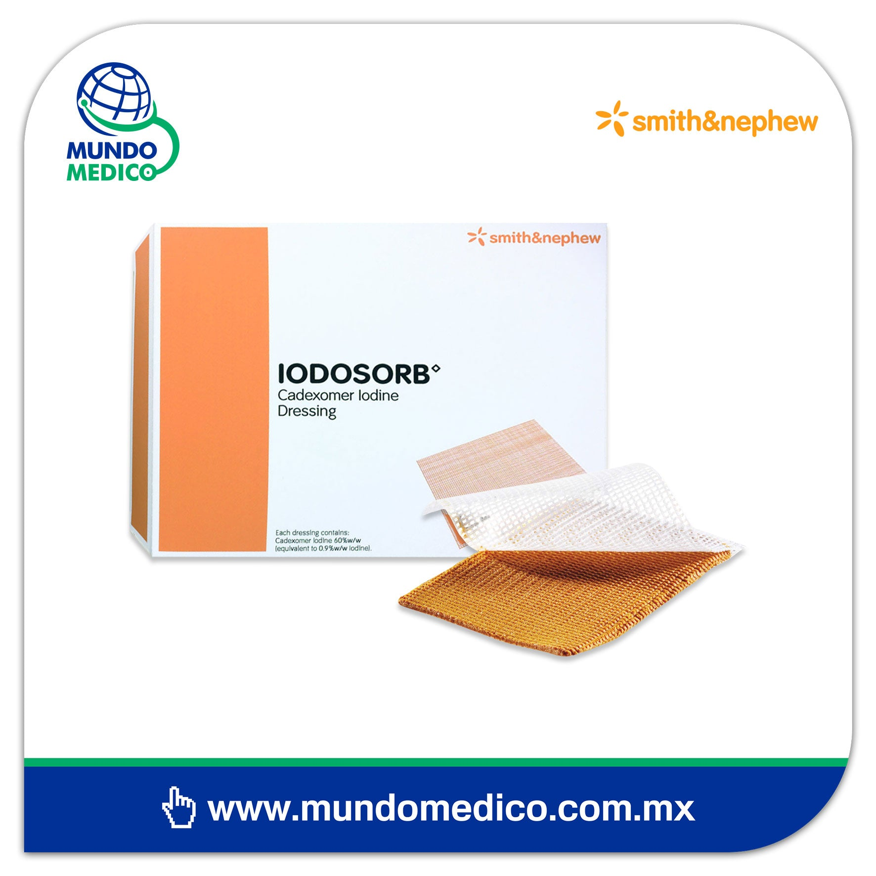 Iodosorb Apósito Smith & Nephew - 6x4 cm