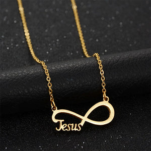 Women's Jesus Bowknot Stainless Steel Faith Necklace