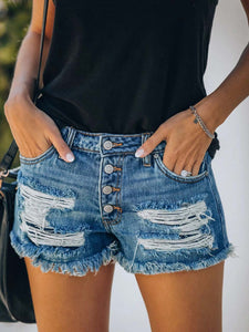 Women's Dog Paw Print Denim Shorts