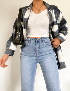 Trendy Check Oversized Jacket
