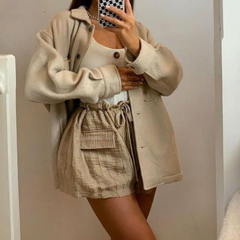 Trendy Beige Oversized Shacket