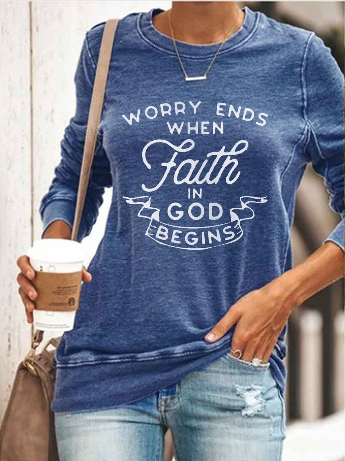 Women's Worry Ends When Faith In God Begins Print Top