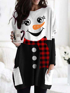 Ladies Plaid Snowman Print Casual Long Top