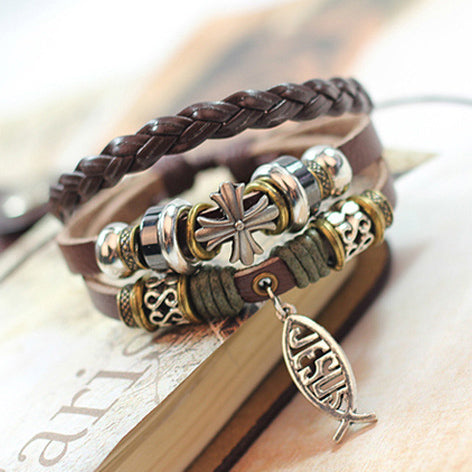 Jesus Small Fish Beaded Leather Bracelet