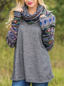 Women's ethnic style sweater knit top