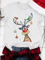 Load image into Gallery viewer, Ladies Christmas Elk Printed Short Sleeve Round Collar T-shirts