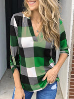 Load image into Gallery viewer, Women's Plaid V-neck Long Sleeve Tops