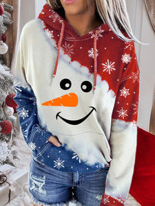 Women's Snowman Contrast Color Long Sleeve Tie-Dye Hoodie