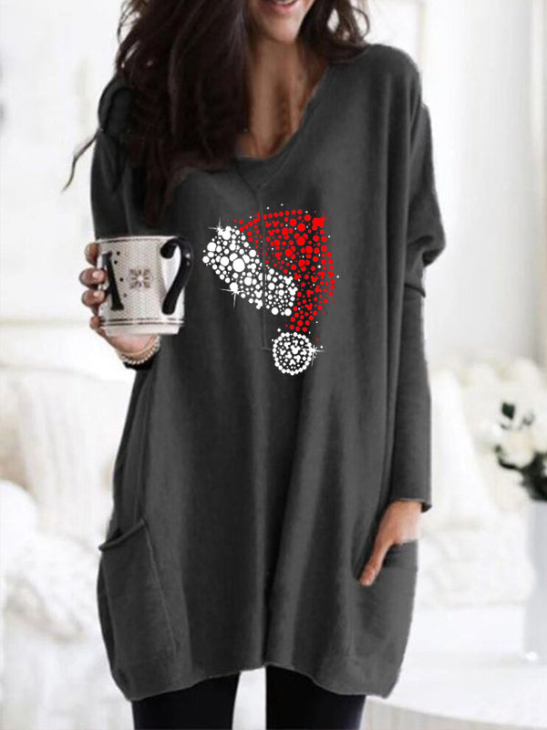 Women's ChristmasHat Print Round Neck Shirt