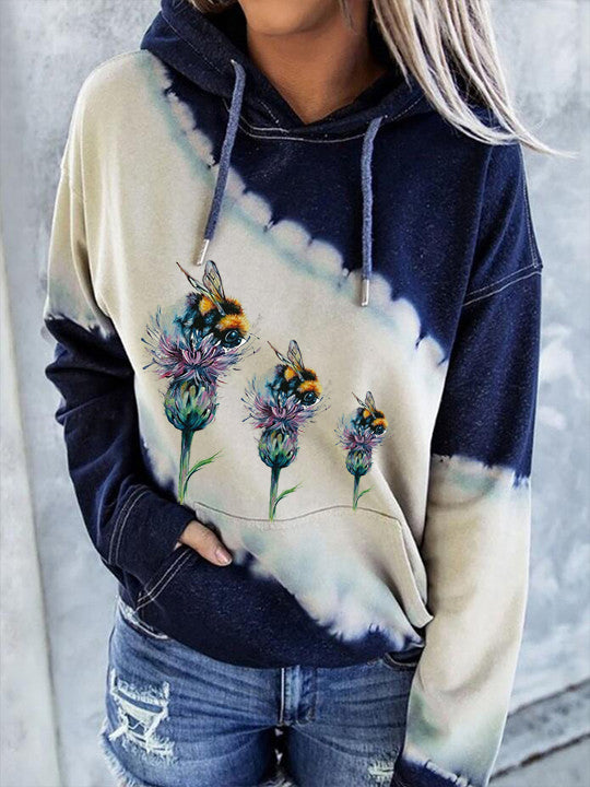 Animal Bee Print Long-Sleeved Hooded Sweatshirt
