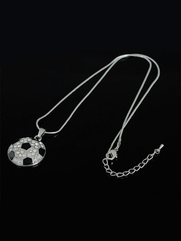 Football crystal pendant necklace