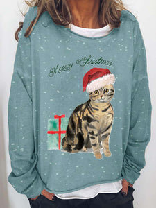 Ladies Christmas kitten graphic t-shirt