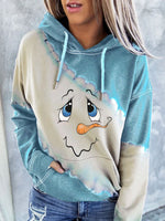 Load image into Gallery viewer, Women's Cute Snowman Face Print Hoodie