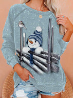 Load image into Gallery viewer, Women's Christmas Snowman Print Sweatshirt