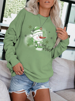 Load image into Gallery viewer, Ladies warm wishes snowman print sweatshirt