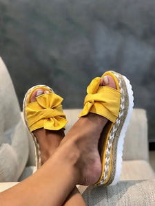 Women's bow size plus size women's casual slippers