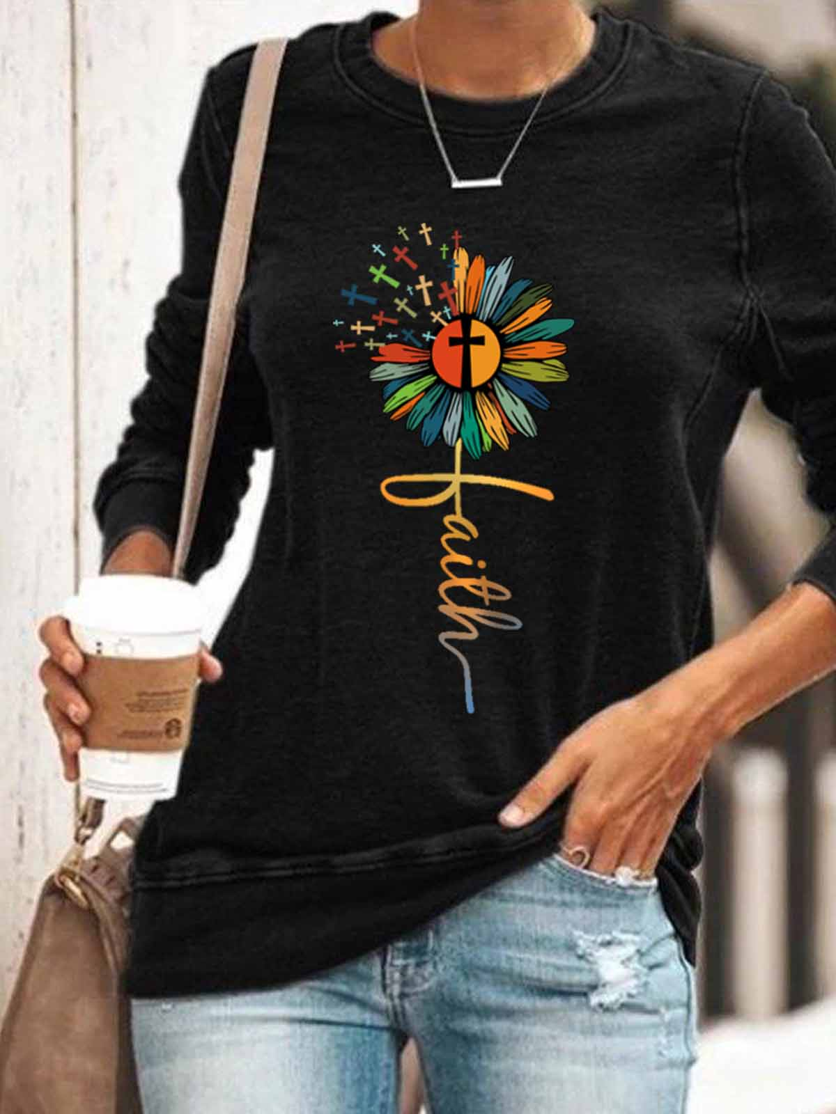 Women's Faith Cross Sunflower Color Print Top
