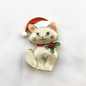 Cute Cartoon Cat Christmas Badge Pin Corsage Sweater Coat Accessory Gift