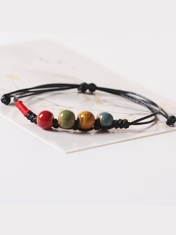 Retro ethnic ceramic glaze bead bracelet braided bracelet